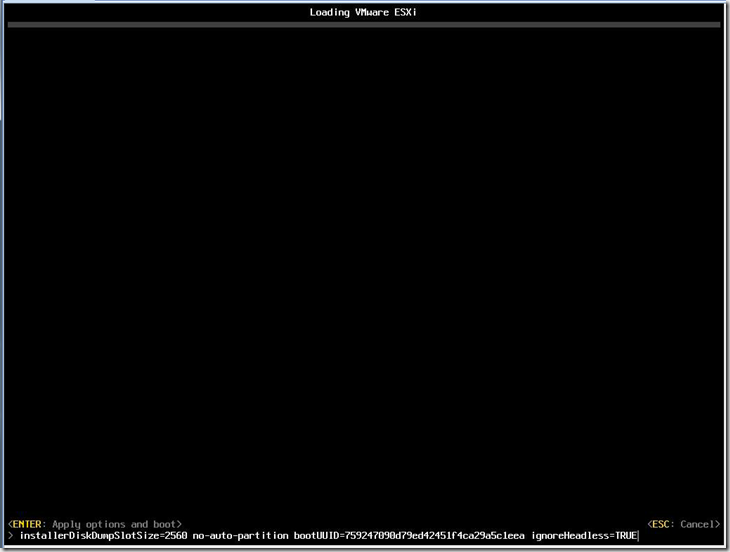 """ESXi 6 install stuck on """"Relocating modules and starting up the kernel…"""""""